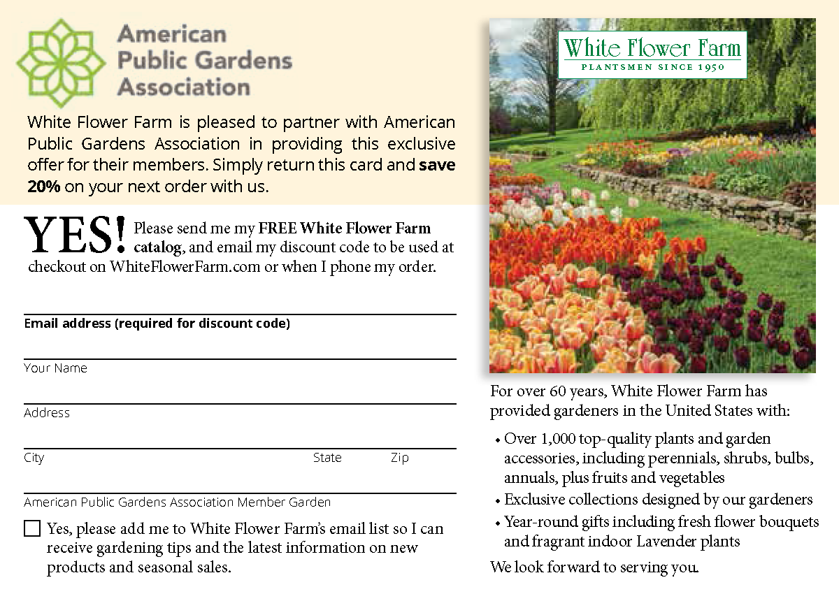 White flower farm american public gardens association if you have already requested cards at whiteflowerfarmapga then email customer service at white flower farm at custservwhiteflowerfarm mightylinksfo